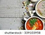 soup bowls composition with... | Shutterstock . vector #339103958