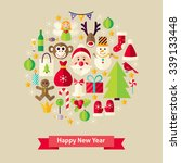 happy new year objects concept. ... | Shutterstock .eps vector #339133448