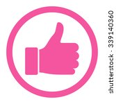 Thumb Up vector icon. Style is flat rounded symbol, pink color, rounded angles, white background.