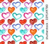 multicolored watercolor hearts  ... | Shutterstock . vector #339149780