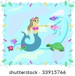 frame of mermaid and fish in... | Shutterstock .eps vector #33915766