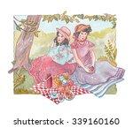 watercolor illustration. tea... | Shutterstock . vector #339160160