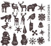 christmas stickers set in... | Shutterstock .eps vector #339163484