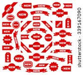 new labels  red isolated on... | Shutterstock .eps vector #339167090