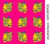 pop art tiger pattern. vector... | Shutterstock .eps vector #339198920