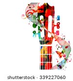 Colorful Guitar Fretboard With...