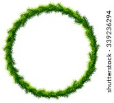 Thin christmas wreath without decoration. Round frame of pine branches isolated on white. Vector image for christmas, new year's day, decoration, winter holiday, design, new year's eve, silvester, etc