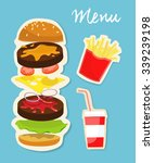 tasty burger with isolated... | Shutterstock .eps vector #339239198
