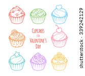 set of color cupcakes. cupcakes ... | Shutterstock .eps vector #339242129