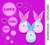 illustration with cute rabbit... | Shutterstock .eps vector #339242360