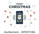 christmas phone call from santa ... | Shutterstock .eps vector #339257186