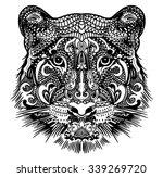 Hand Drawn Vector  Tiger Head...