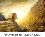 great sphinx and pyramids under ... | Shutterstock . vector #339275300