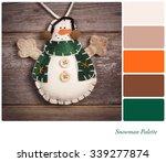 retro style felt snowman over...   Shutterstock . vector #339277874