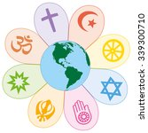 world religions united on a... | Shutterstock .eps vector #339300710