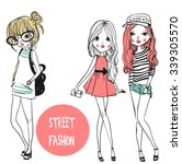 set with cute fashion girls  | Shutterstock .eps vector #339305570