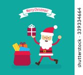 santa claus with big sack of... | Shutterstock .eps vector #339334664