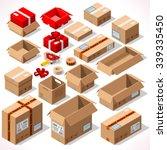 isometric flat cardboard carton ... | Shutterstock .eps vector #339335450