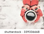 woman hands in red teal gloves... | Shutterstock . vector #339336668