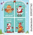 vintage christmas poster design ... | Shutterstock .eps vector #339337763