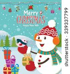 vintage christmas poster design ... | Shutterstock .eps vector #339337799