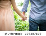 happy love  couple holding... | Shutterstock . vector #339357839