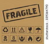 packaging symbols on cardboard. ... | Shutterstock .eps vector #339364790