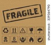packaging symbols on cardboard. ...
