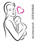 stylized holy union of mother... | Shutterstock . vector #339369860