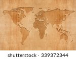 world map on wooden background | Shutterstock . vector #339372344