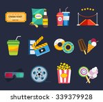 Постер, плакат: Movie vector icons set