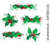 set of holly berries page... | Shutterstock .eps vector #339382118