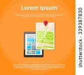 tablet computer world map gps... | Shutterstock .eps vector #339387830