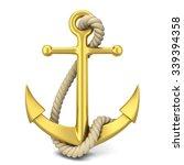 Golden Anchor. 3d Illustration...