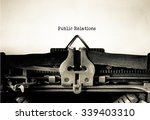 Small photo of Public Relations word typed on a Vintage Typewriter.