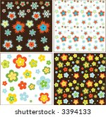 spring flowers retro patterns | Shutterstock .eps vector #3394133