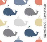 seamless sea pattern with funny ... | Shutterstock .eps vector #339434660