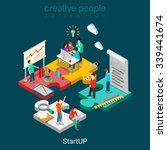 flat 3d isometric startup...