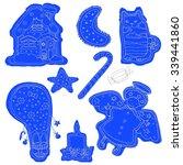 doodles christmas blue cookies. ... | Shutterstock .eps vector #339441860