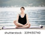 carefree woman meditating... | Shutterstock . vector #339450740