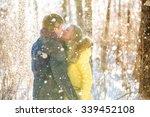 a loving couple walking in... | Shutterstock . vector #339452108