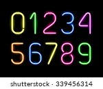 set of glowing neon numbers for ... | Shutterstock .eps vector #339456314