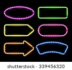 Set Of Glowing Neon Frames On...