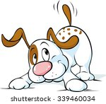 cute dog wags his tail and... | Shutterstock .eps vector #339460034