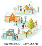 small town urban christmas... | Shutterstock .eps vector #339465578