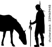 american indian silhouette with ... | Shutterstock .eps vector #339469448