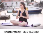 woman meditating.vacation... | Shutterstock . vector #339469880