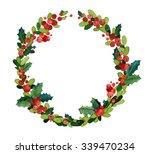 christmas watercolor wreath... | Shutterstock . vector #339470234