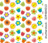 seamless pattern with funny and ... | Shutterstock .eps vector #339484013