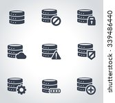 vector black database icon set. | Shutterstock .eps vector #339486440